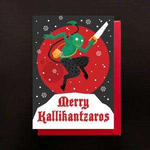 Image of Merry Kallikantzaros greeting cards - 4 pack