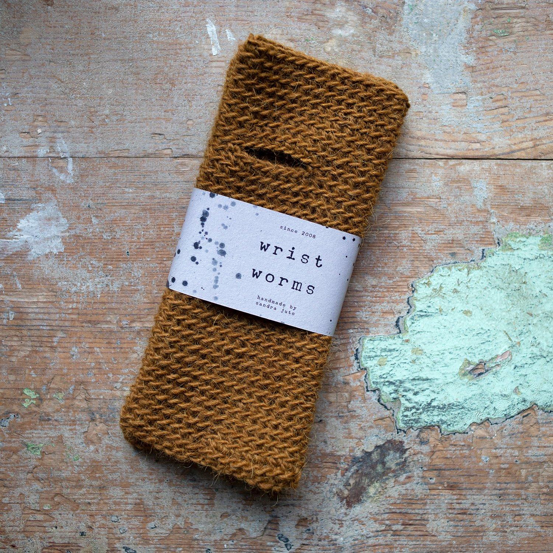 Wrist Worms, Lama/Wool, Dark Mustard