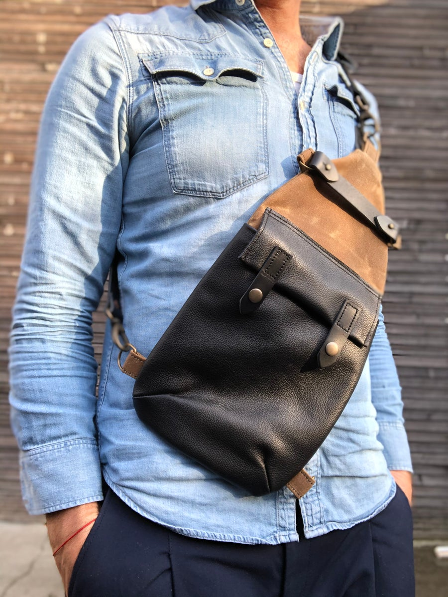 Image of Spice waxed canvas sling bag / fanny pack / chest bag / day bag/ with leather shoulder strap