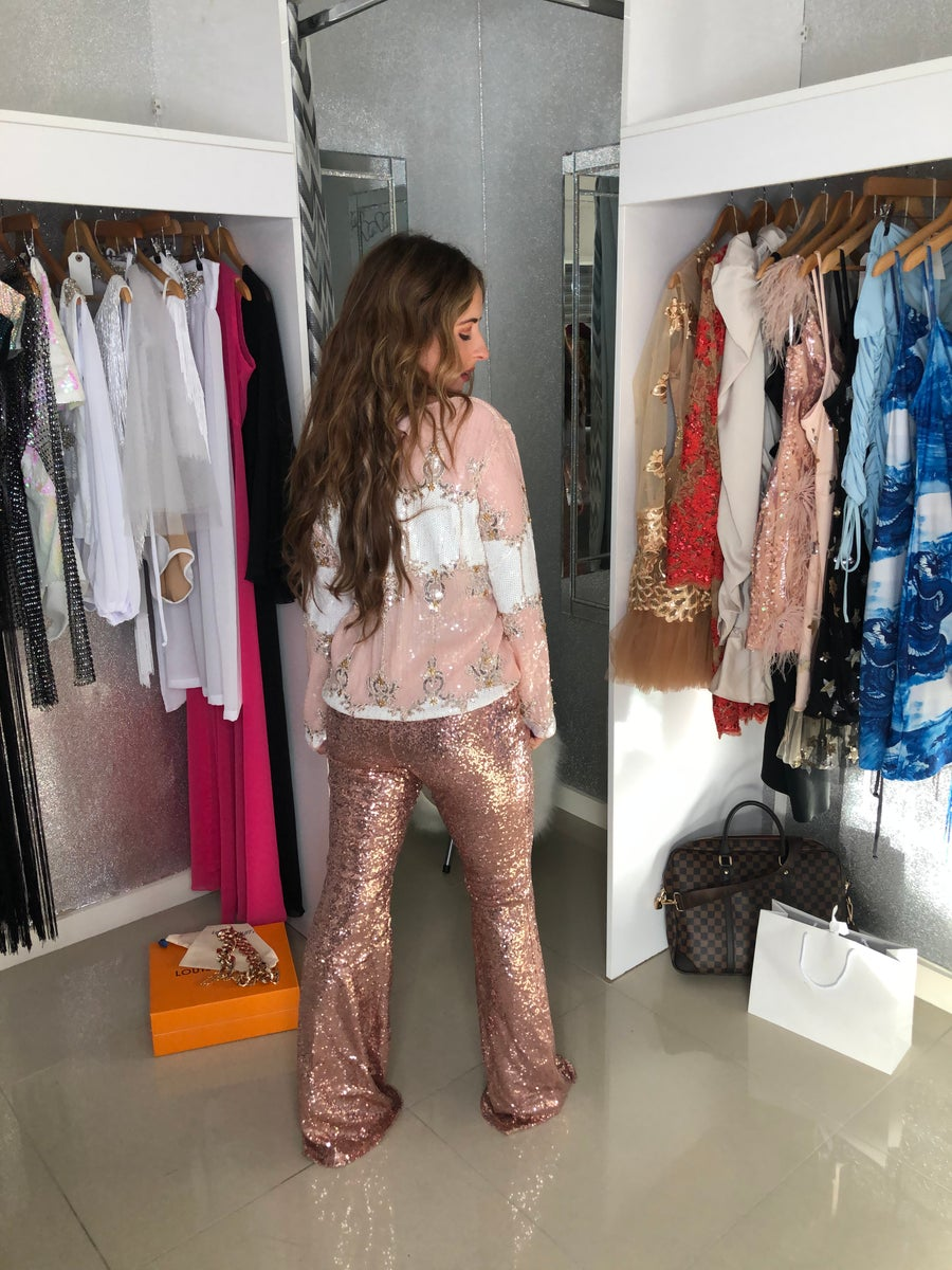 Image of Rose Gold Sequin Flared Trousers