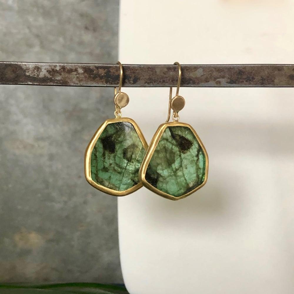 Image of Big Brazilian Emerald Slice Earrings set in 22K