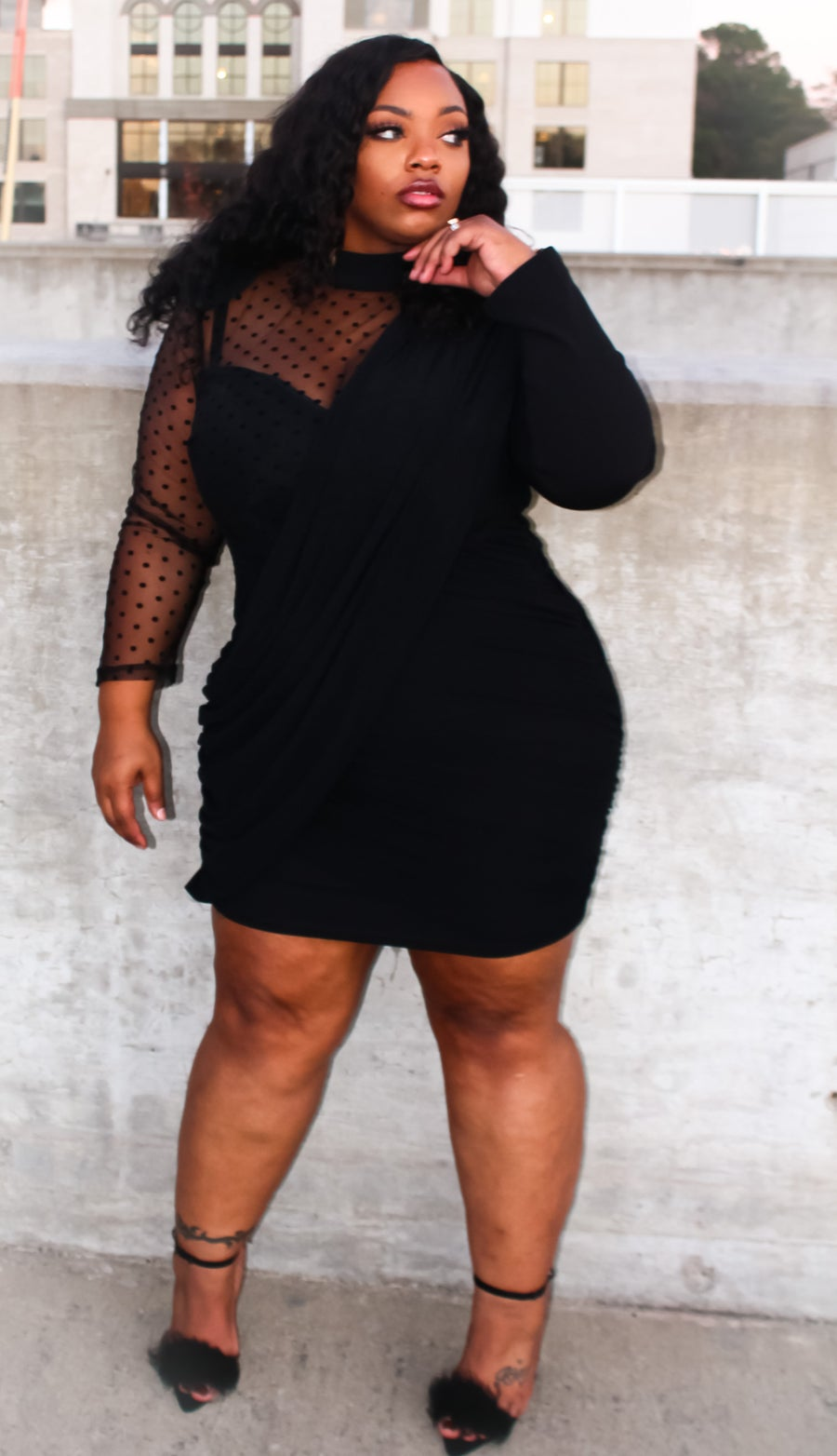 Image of Sheer Dotted Dress