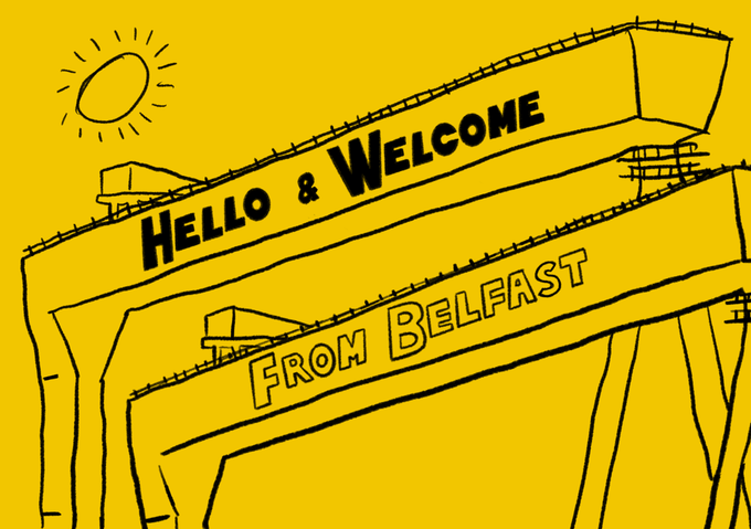 Image of Hello & Welcome From Belfast A3 Screenprint