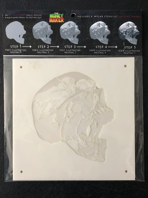 "Image of ""Money Maker"" Skull stencil"