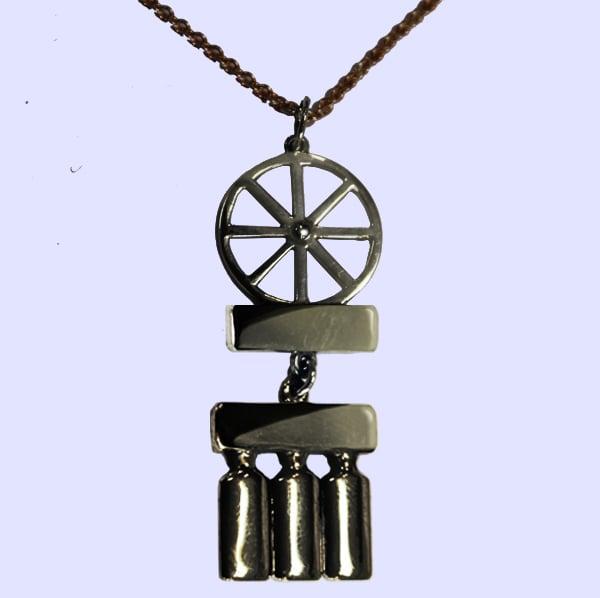 Image of Bicycle Wheel & Bottle Necklace