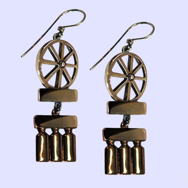 Image of Bicycle Wheel & Bottle Earrings