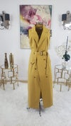 Mustard Belted Coat Dress