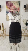 Black and White Ruffle Blouse and Lace Skirt
