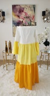 Yellow Color Block Off The Shoulder Dress