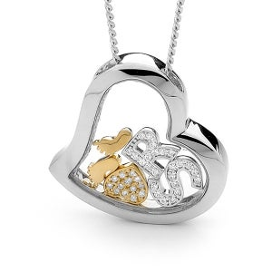 Image of Custom Letters Heart Pendant-Sterling Silver with 9ct Solid Gold Feet & Heart with Cubic Zirconia'