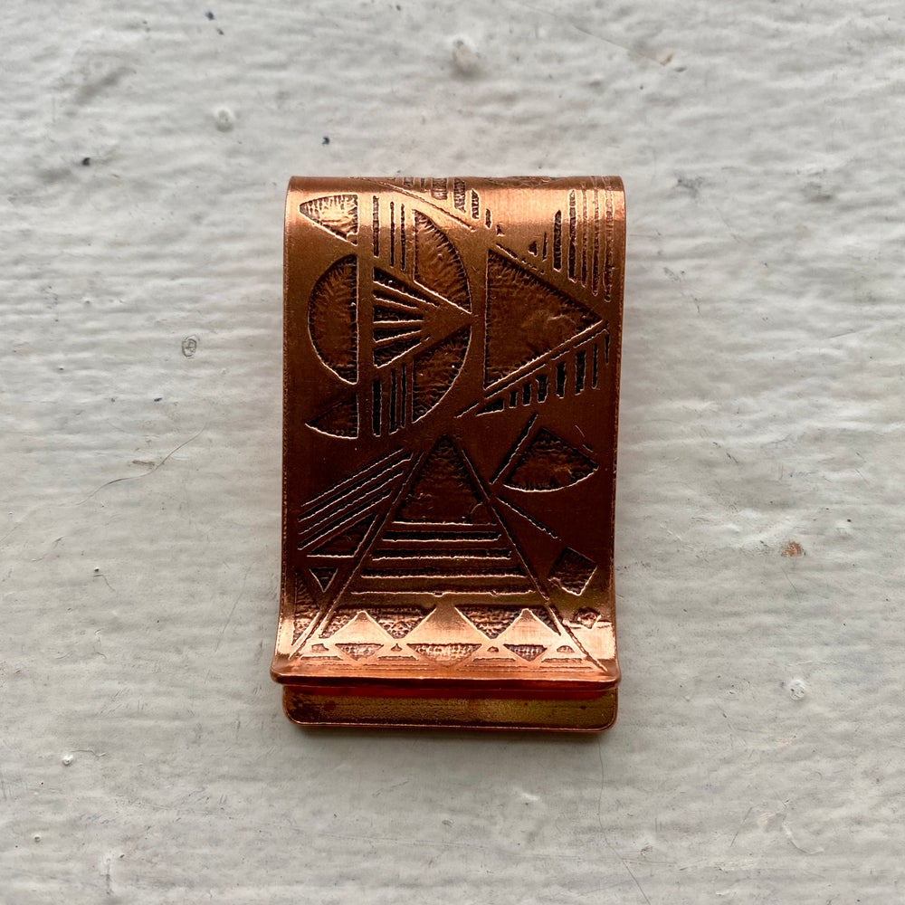 Image of etched copper money clip I