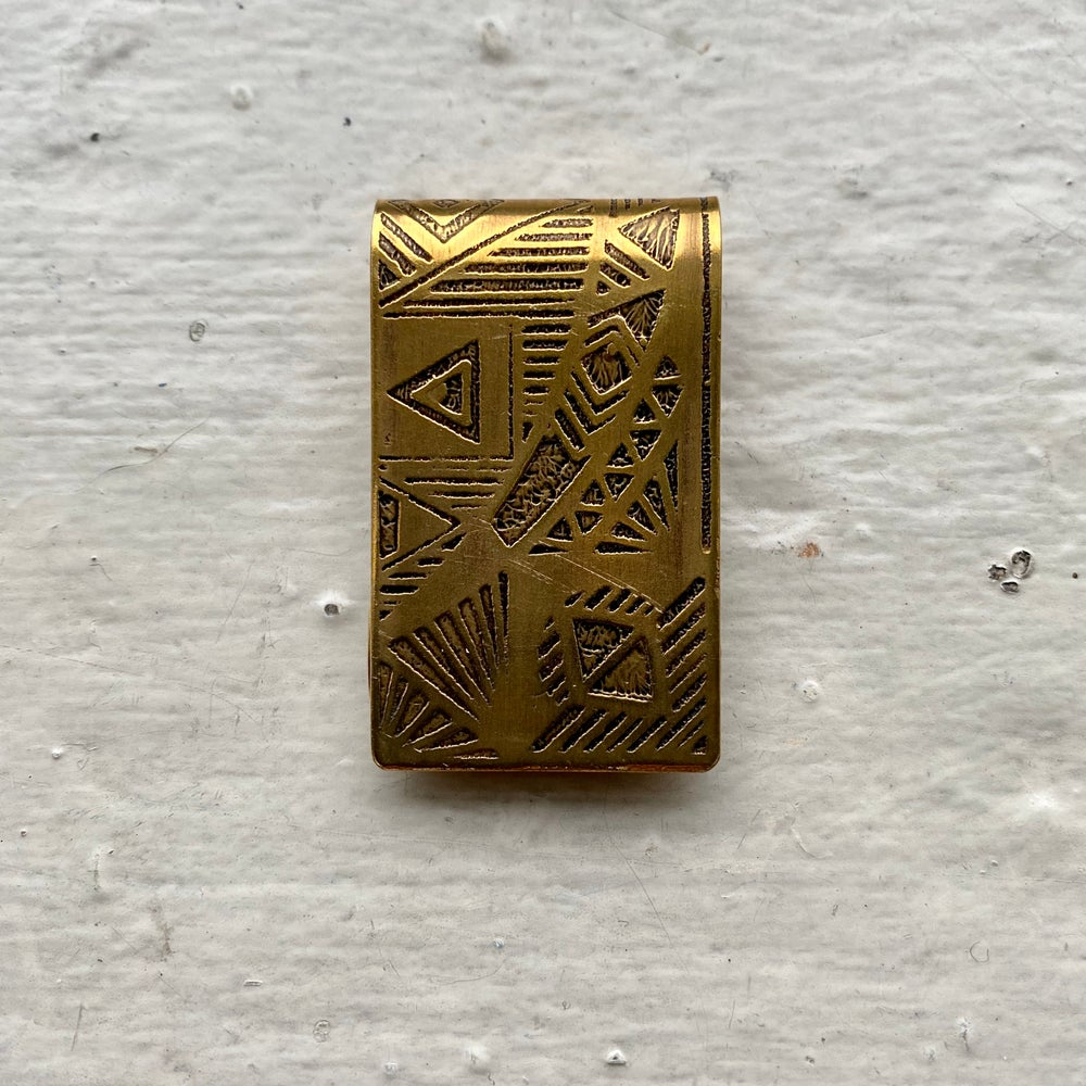 Image of etched brass money clip II