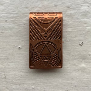 Image of etched copper money clip II