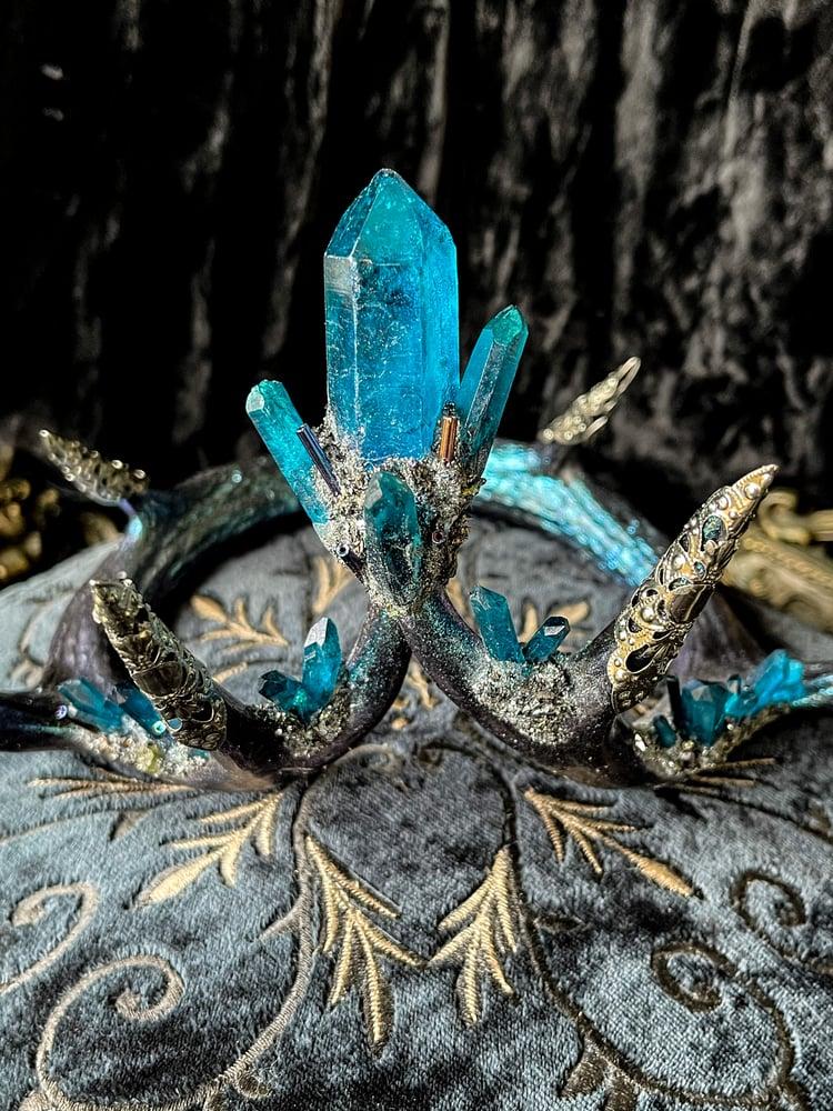 Image of Mermaid Blue Quartz & Carborundum - Antler Crown