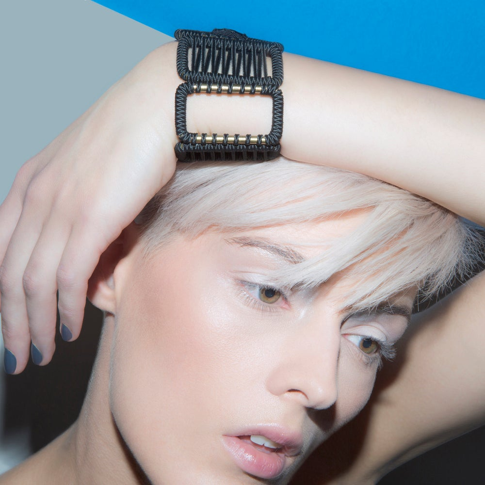 Image of large woven cuff #942, color 10B (carbon/bronze)