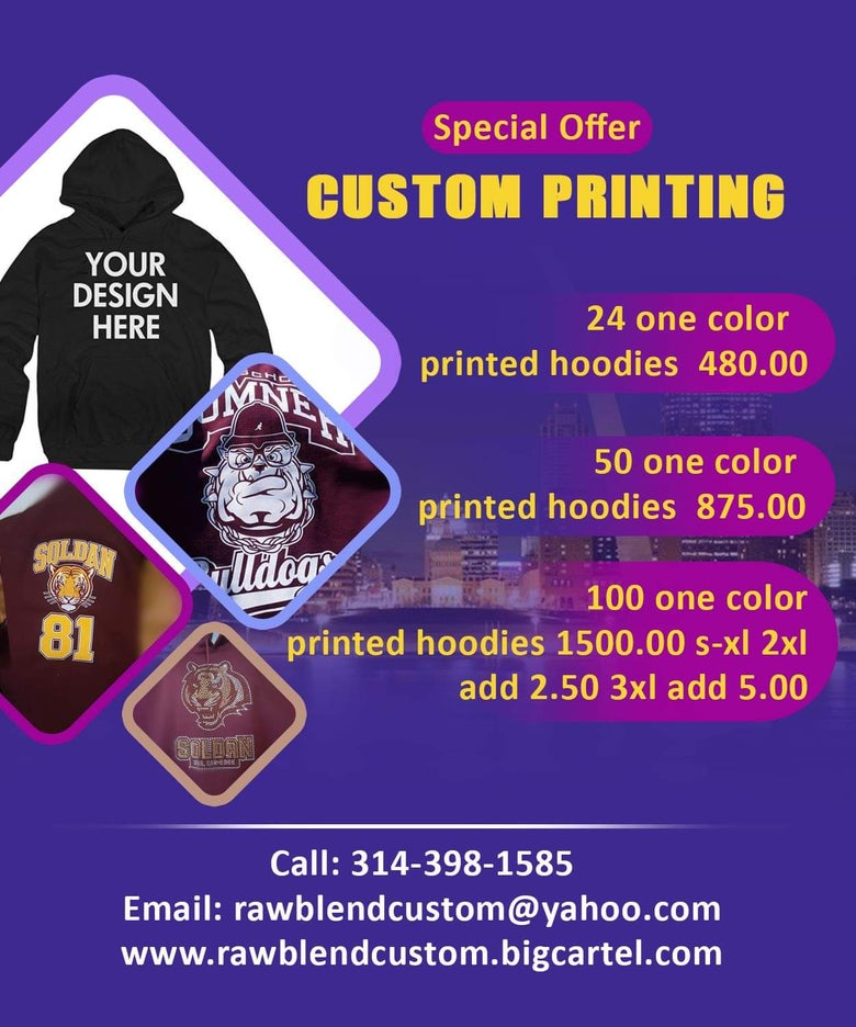 Image of 1 color printed hoodie promotion
