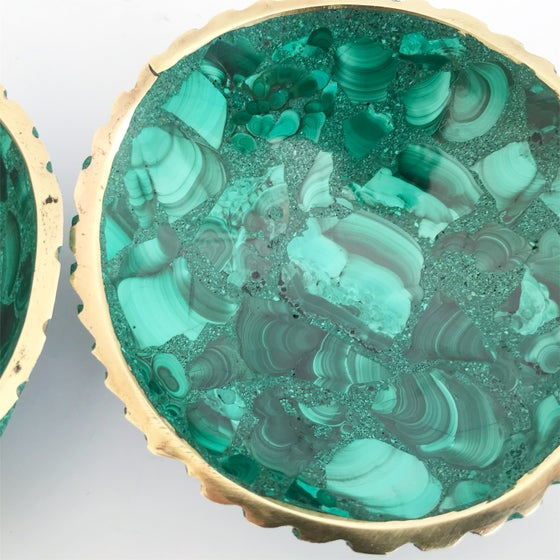 Image of Brass Rimmed Malachite Dish