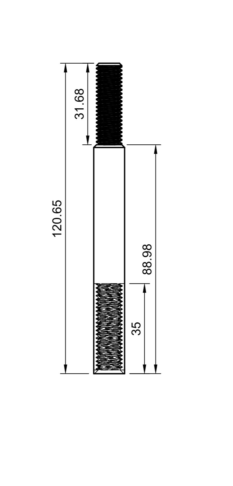 Titanium shift extension rod.