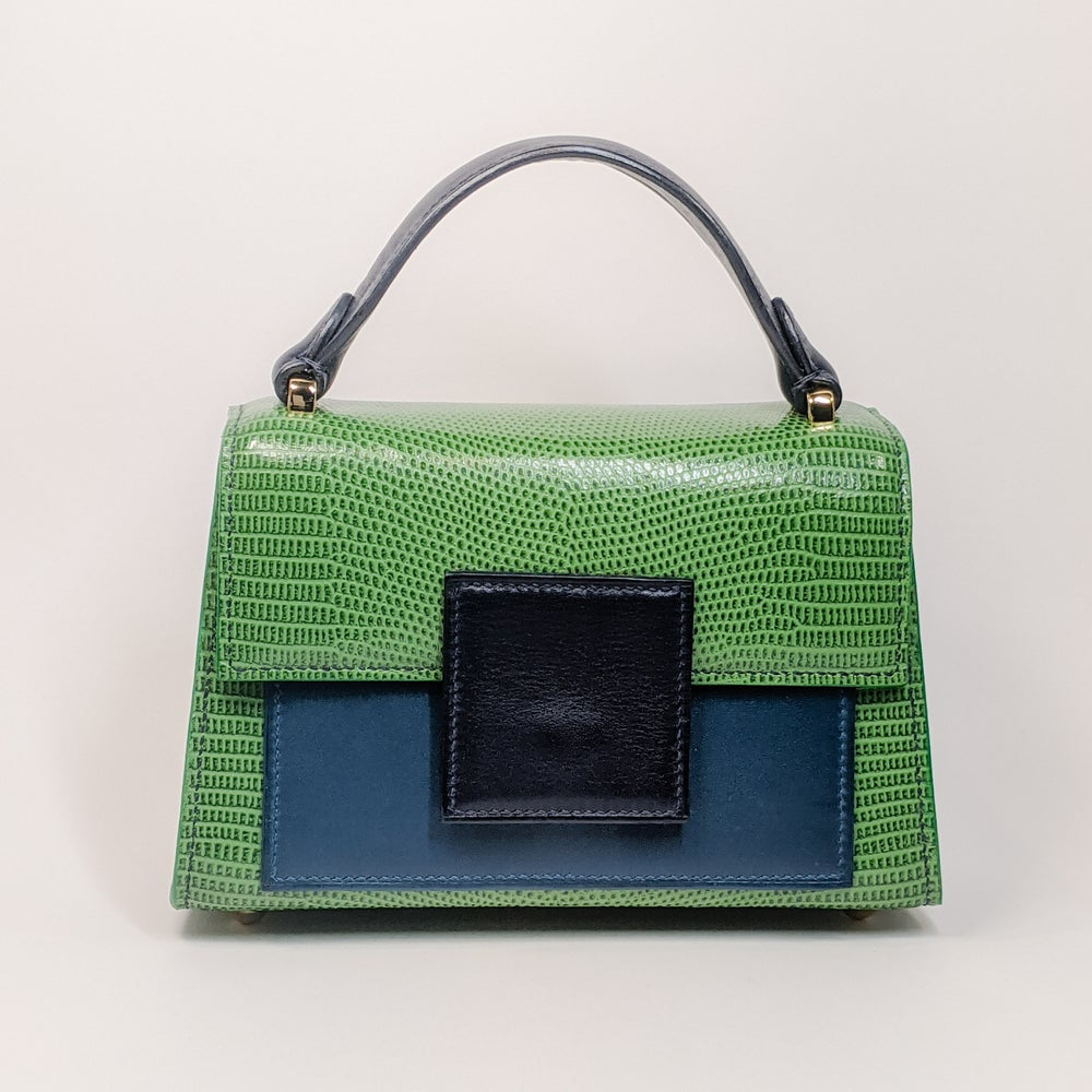 Image of BERRY MINI HANDBAG - Green Lizard Embossed