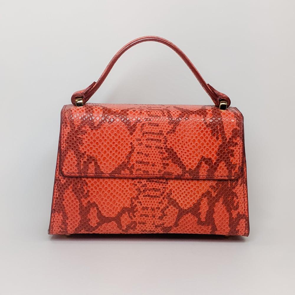 Image of BERRY MINI HANDBAG - RED PYTHON EMBOSSED w/ Shoulder Strap