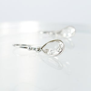 Image of Sterling silver quartz drop earrings. M3047