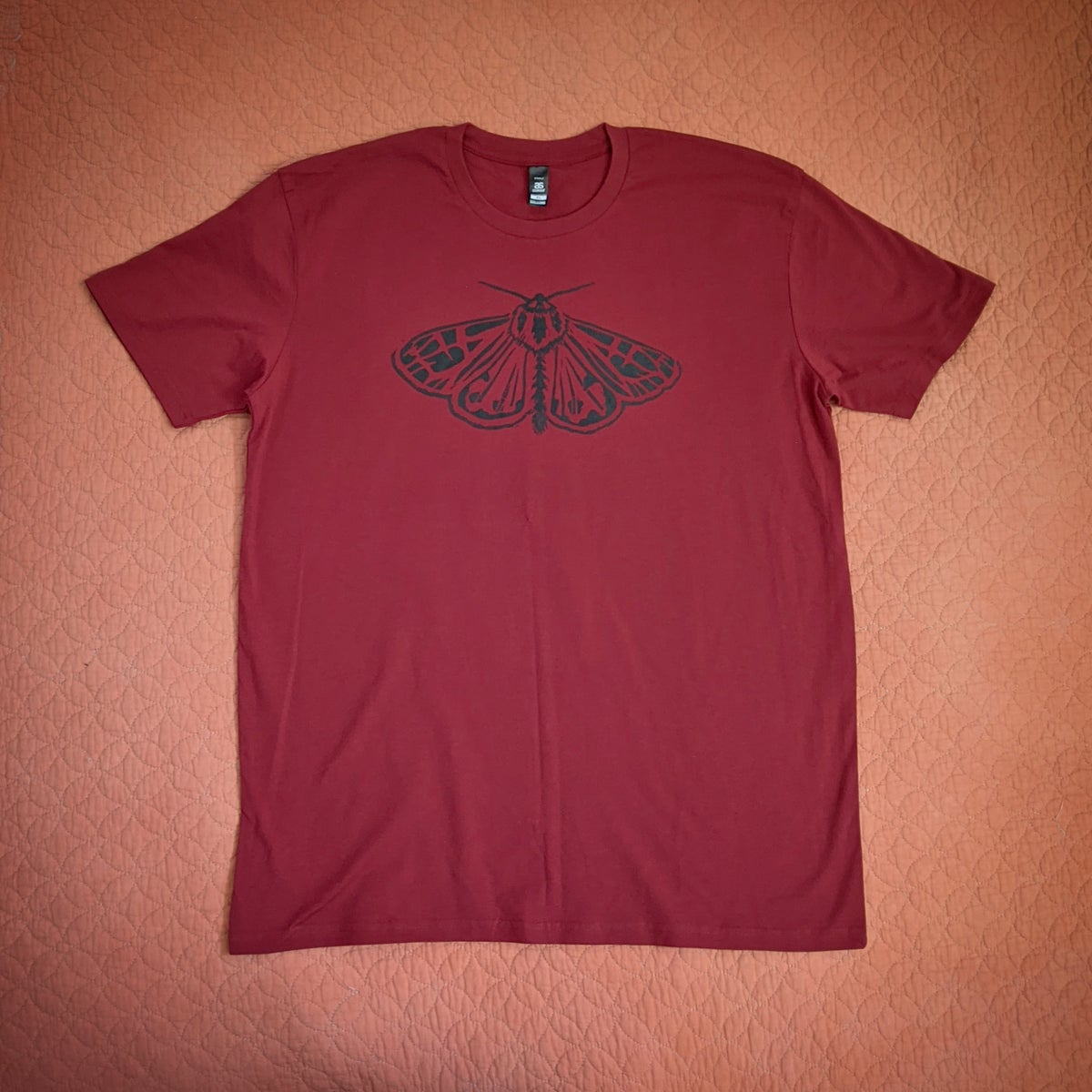 Image of Grown-Up T-Shirt - Moth - Sky, Charcoal or Deep Red
