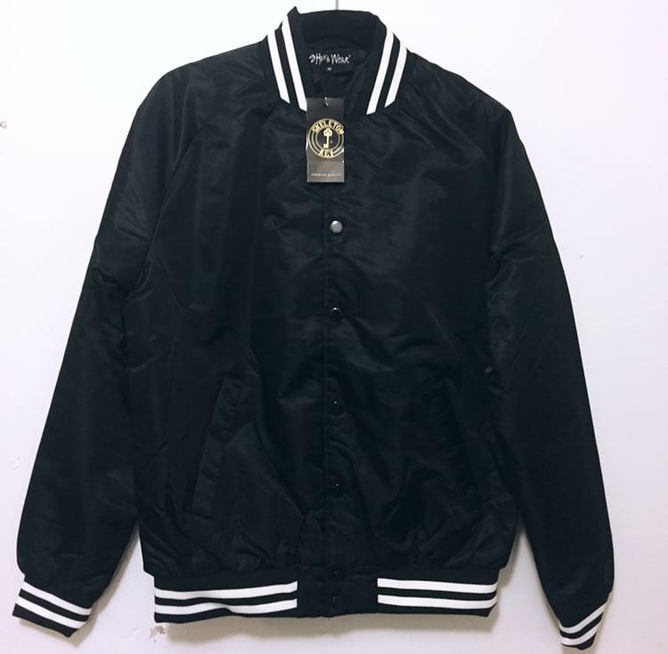 Image of Black Bomber varsity Jacket
