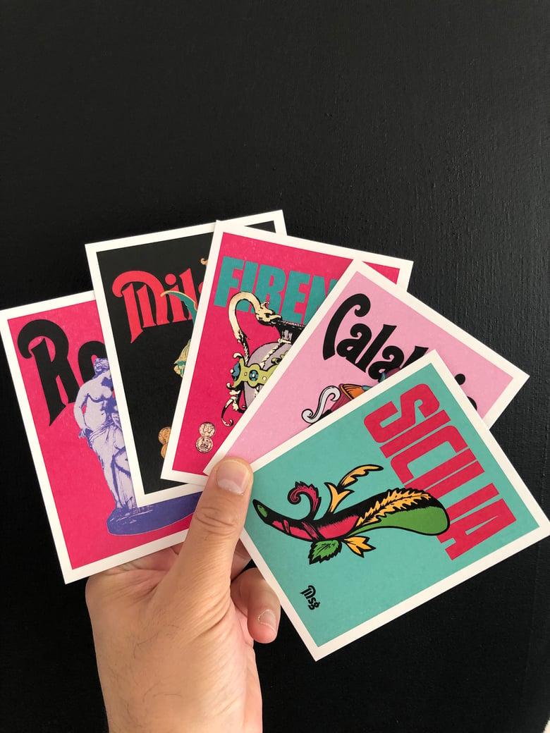 Image of Modern Classic Postcard Pack. Italian Posters. Roma, Milano, Calabria, Sicilia & Firenze.
