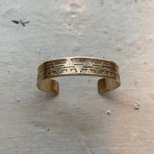 Image of small etched brass cuff II