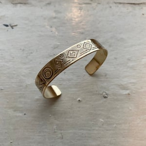 Image of medium etched brass cuff II