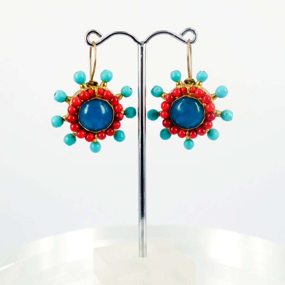 Image of Turkish yellow gold plated ethnic earring. M3156