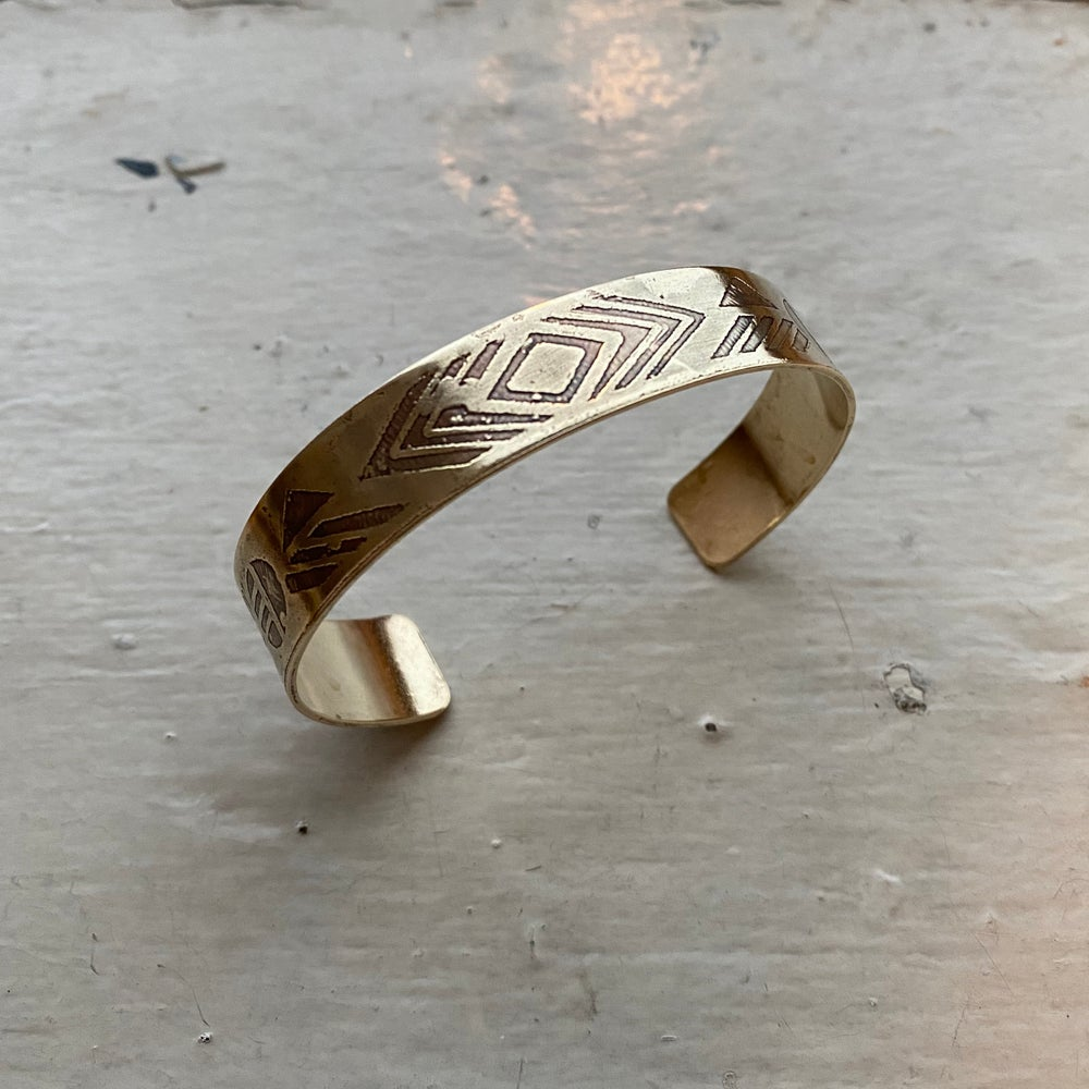 Image of large etched brass cuff II