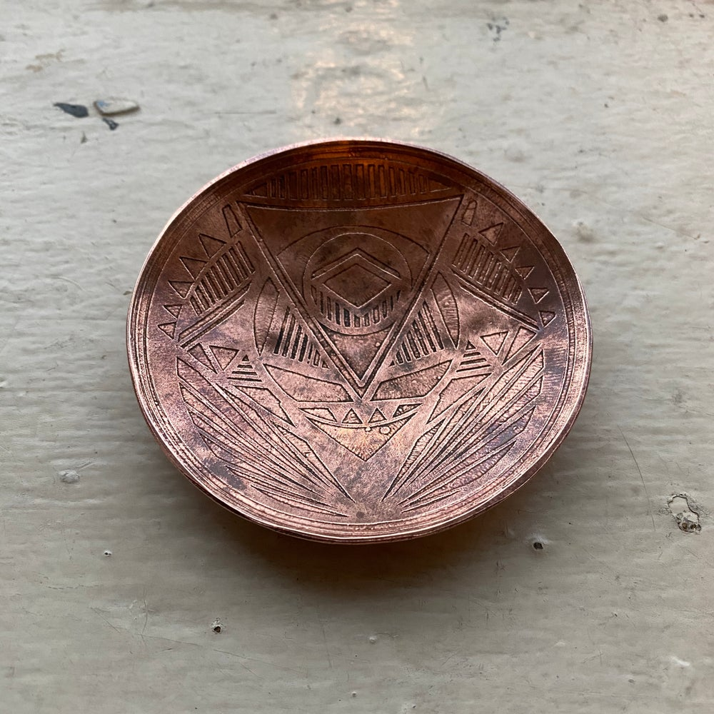 Image of small etched copper catch all I