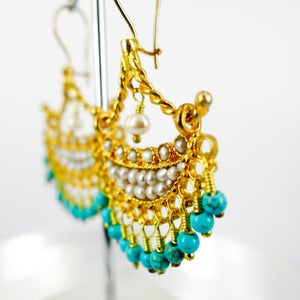 Image of Yellow gold plated and pearl ottoman earrings. M3162