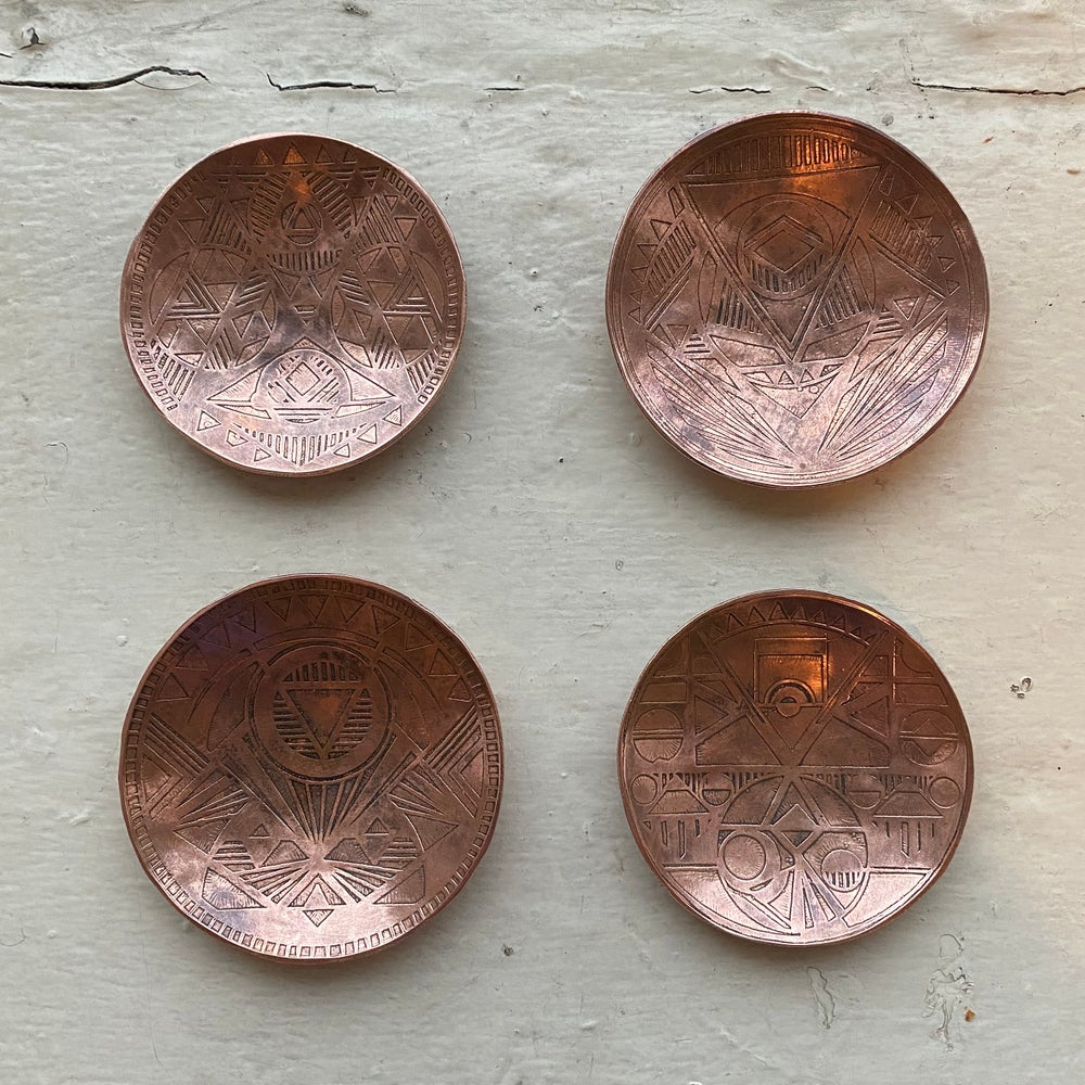 Image of small etched copper catch all II