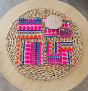 Image of Boho Pink cotton Coasters.