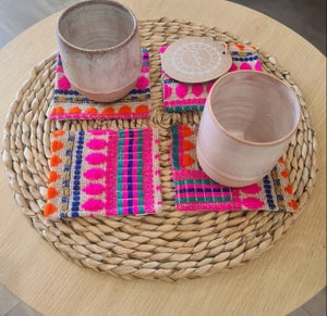Image of Boho Pink cotton Coasters.