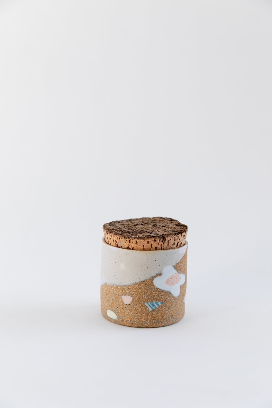 Image of Short Small Canister & Vessel - Candy Pastel Flowers on Toasty Clay