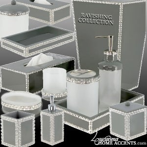 Image of Ravishing Swarovski Crystal Gold or Silver Bathroom Accessories