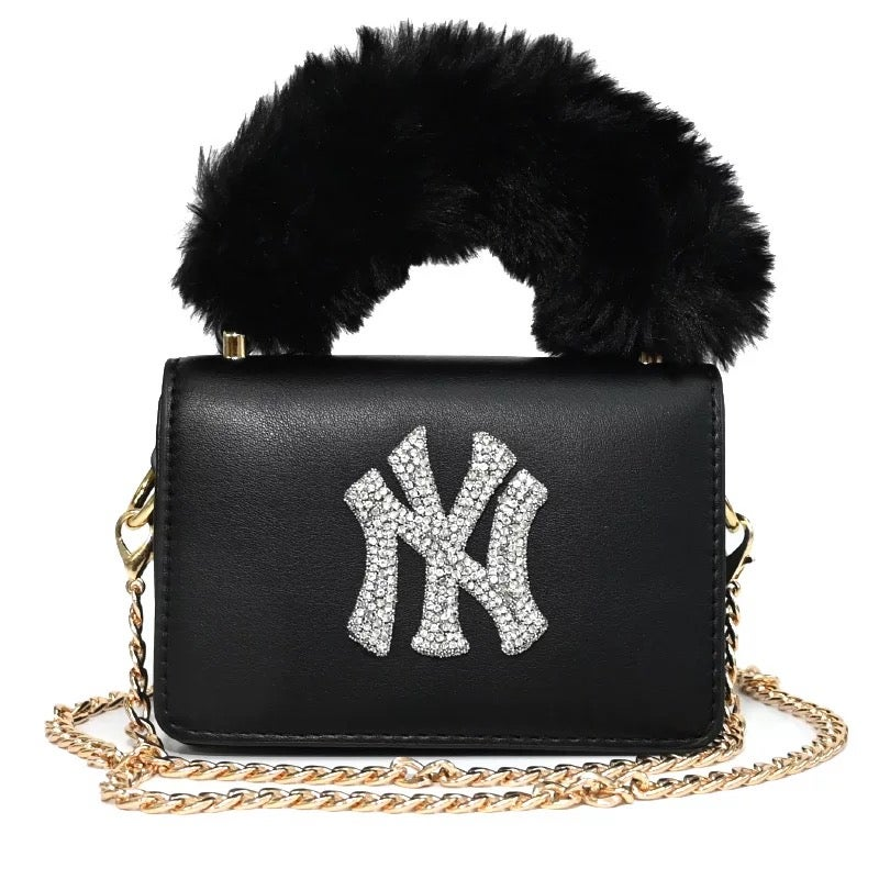 Image of Fur Handle Bling NY Bag