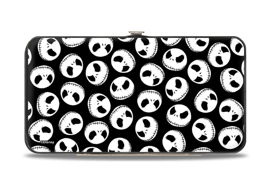 HINGED WALLET - NIGHTMARE BEFORE CHRISTMAS JACK EXPRESSION3 CENTERED SCATTERED BLACK WHITE