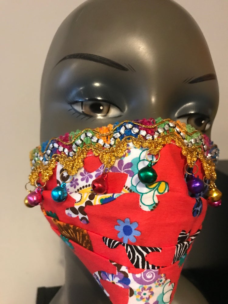 Image of Mexican fiesta face mask with bells on
