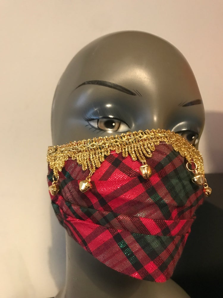 Image of Sparkly tartan face mask with bells on