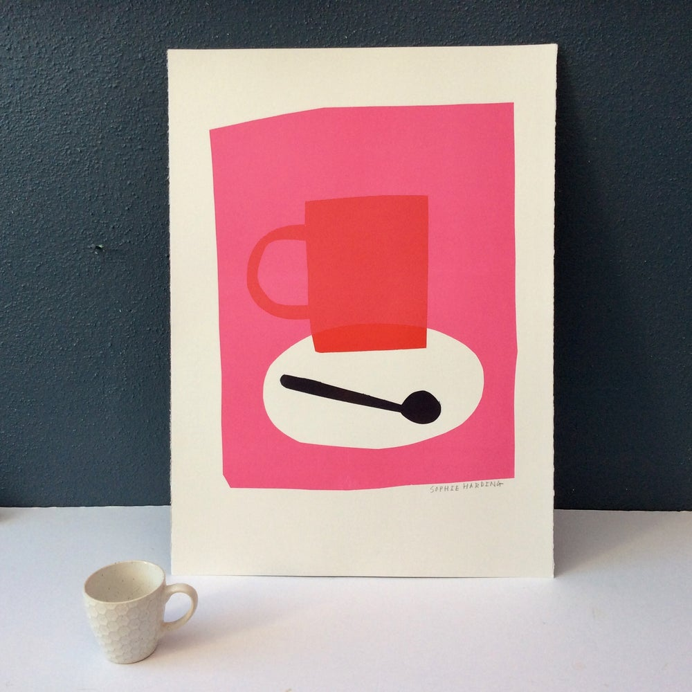 Image of Red Coffee Cup and Spoon