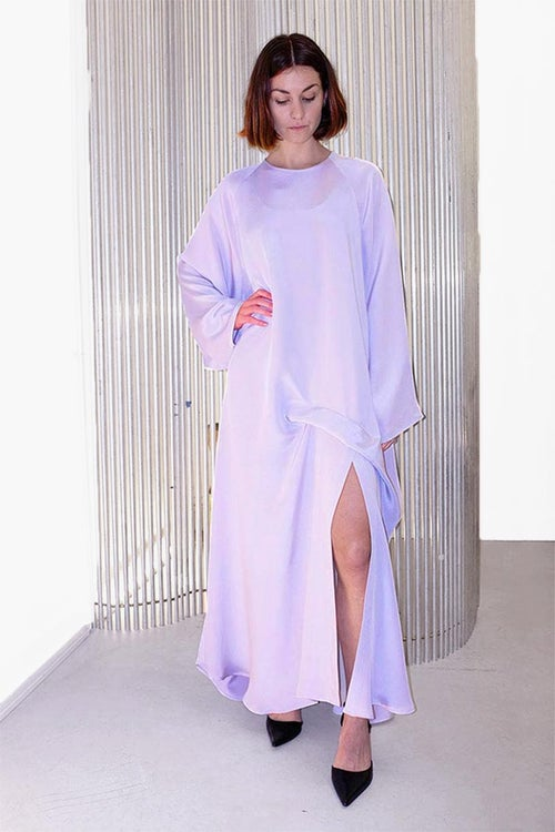 Image of Dress 1 Long Slit - Silk - Lavender