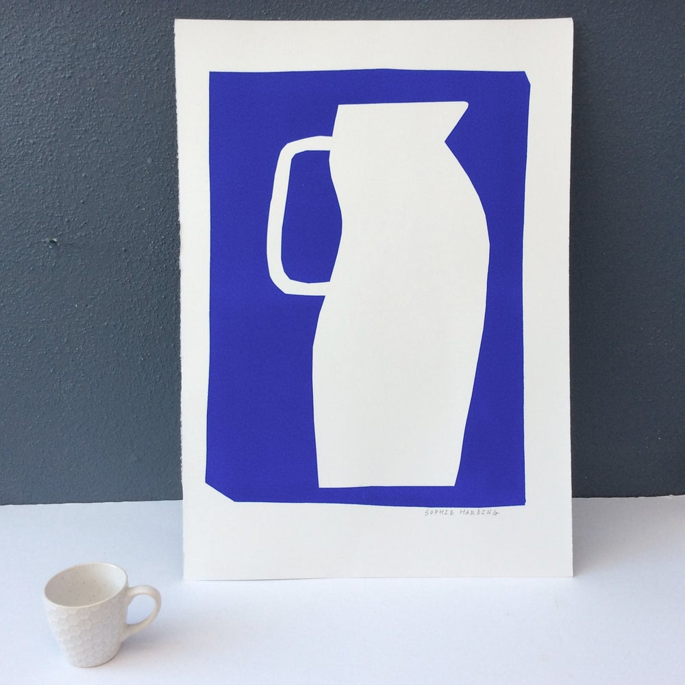 Image of Tall White Jug on Blue