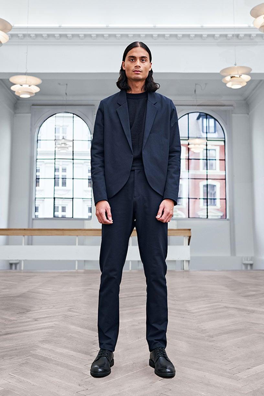 Image of Suit 1 - JACKET - Cotton twill - Dark blue