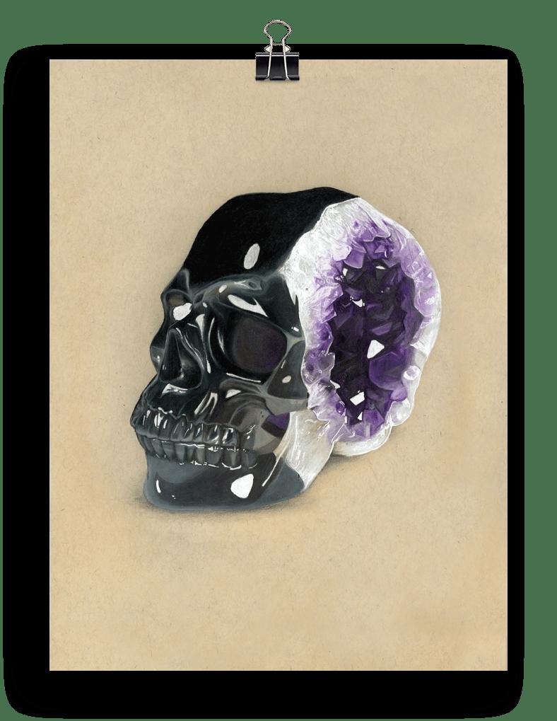 """Image of 'Amethyst Skull'   9x12"""""""