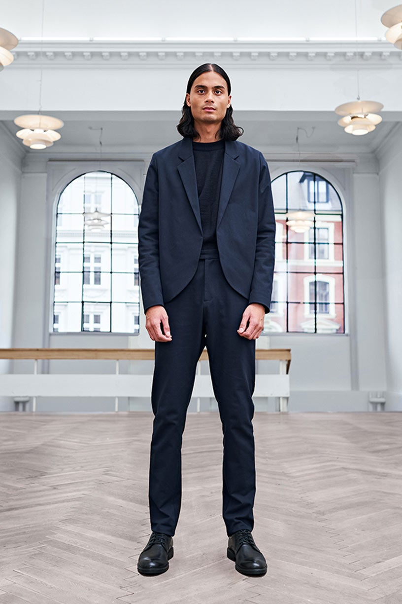 Image of Suit 1 - TROUSERS - Cotton twill - Dark blue
