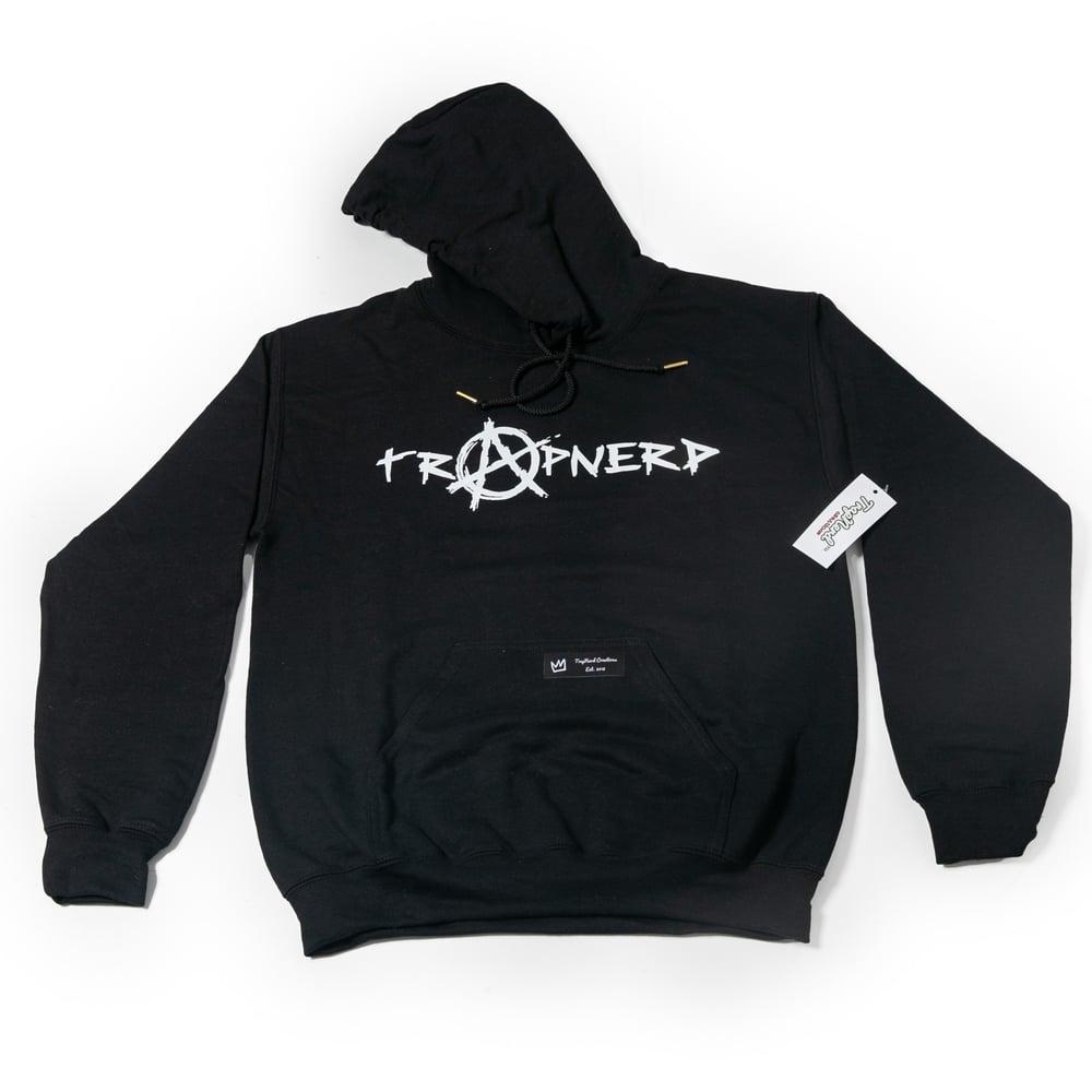 Image of Black TrapNerd Anarchy Logo Hoodie